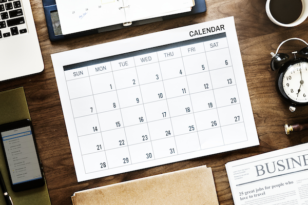 calendar on desk for admin support