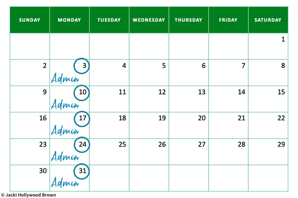Admin Mondays highlighted on month view of calendar